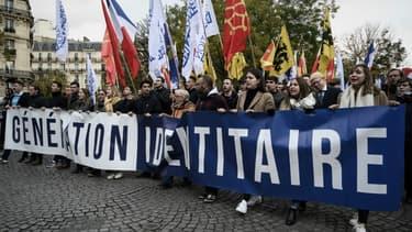 Manifestation de Génération identitaire à Paris en novembre 2019 contre l'islamisation (PHOTO D'ILLUSTRATION).