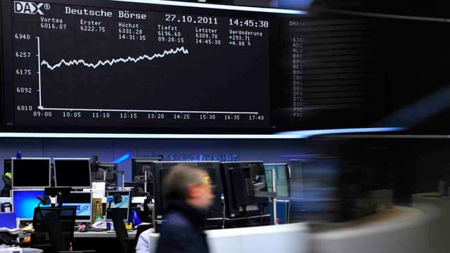La Bourse de Francfort ici en photo a ouvert en nette hausse