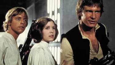 Mark Hamill, Carrie Fisher et Harrison Ford dans l'épisode IV de la Guerre des étoiles.