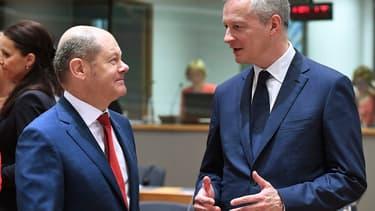 Les ministres des Finances allemand et français, Olaf Scholz et Bruno Le Maire.