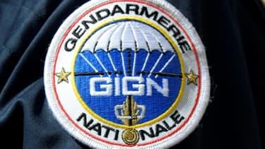 L'écusson du groupe d'intervention de la gendarmerie nationale, à Paris le 19 avril 2016. (Photo d'illustration)