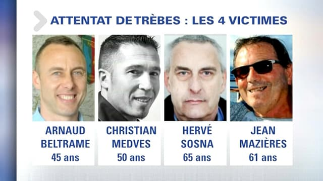 Les quatre victimes des attaques de Trèbes et Carcassonne.