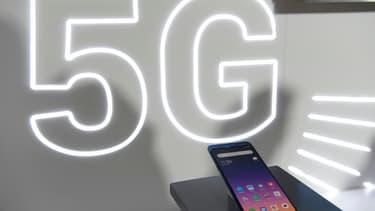 Un smartphone 5G au Mobile World Congress de Barcelone, en 2019
