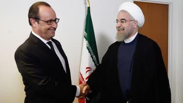 François Hollande et Hassan Rohani à l'ONU le 27 septembre dernier