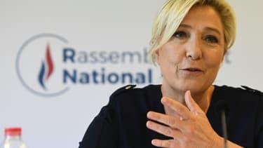 Marine Le Pen pendant une conférence de presser au siège du Rassemblement national à Nanterre, le 28 juillet 2020