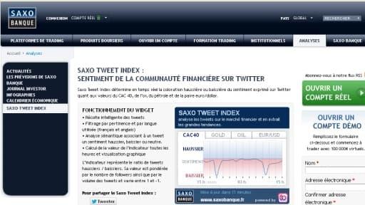 Le site de Saxo Banque propose de savoir ce que pense la twittosphère sur l'évolution du CAC 40 ou de l'euro