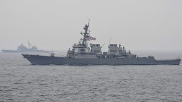 Le destroyer américain USS Fitzgerald, le 1er juin 2017 en mer du Japon