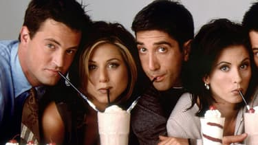 "Matthew Perry, Jennifer Aniston, David Schwimmer, Courteney Cox, Matt LeBlanc et Lisa Kudrow, les acteurs de ""Friends""."