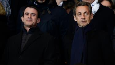 Manuel Valls et Nicolas Sarkozy (ici se croisant avant un match au Stade de France le 19 avril 2014) sont tous les deux en meetings dans l'Essonne lundi soir.