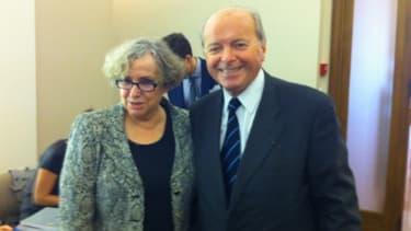 La présidente de l'Hadopi, Marie-Françoise Marais, avec Jacques Toubon, membre du collège