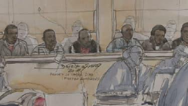 Les pirates somaliens durant le procès devant la Cour d'assise de Rennes