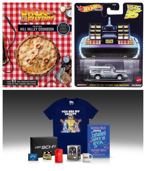"""Un livre de recette, une petite voiture et des goodies inspirés de """"Retour vers le futur"""""""