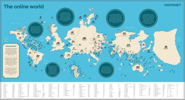 Si les noms de domaine définissaient la taille d'un pays, le Royaume-Uni serait l'un des premiers territoires au monde.