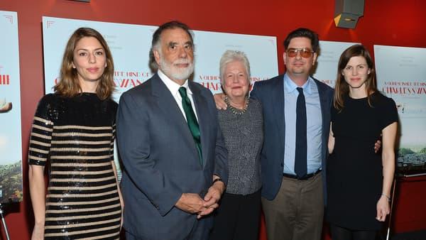 Sofia Coppola, Francis Ford Coppola et son épouse Eleanor, Roman Coppola et sa femme Jennifer Furches à New Yprl en 2013.