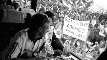 Les Bleus quittant Clairefontaine avant la finale, le 12 juillet 1998