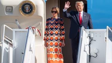 Donald Trump et  Melania Trump lors de leur arrivée en Floride le 20 janvier 2021