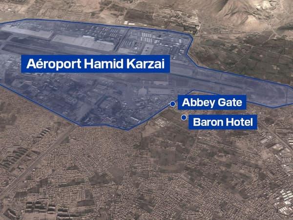 Mapa do aeroporto de Cabul e seus arredores.
