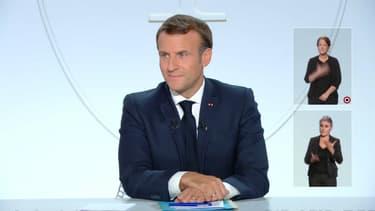 Emmanuel Macron, lors de son allocution depuis l'Elysée le mercredi 14 octobre 2020.