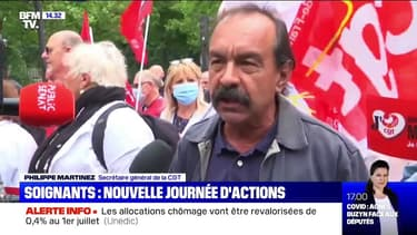 "Manifestation de soignants: ""On a l'impression que maintenant on recommence comme avant"", s'indigne Philippe Martinez (CGT)"