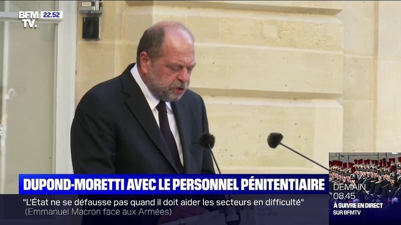 """Éric Dupond-Moretti au personnel pénitentiaire: """"Vous avez assuré la continuité du fonctionnement de notre institution"""""""