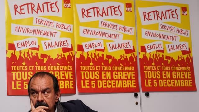 Le secrétaire général de la CGT, Philippe Martinez, pendant une conférence de presse à Montpellier, le 19 novembre 2019