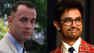 Tom Hanks dans le rôle de Forrest Gump et Aamir Khan, star du remake bollywoodien