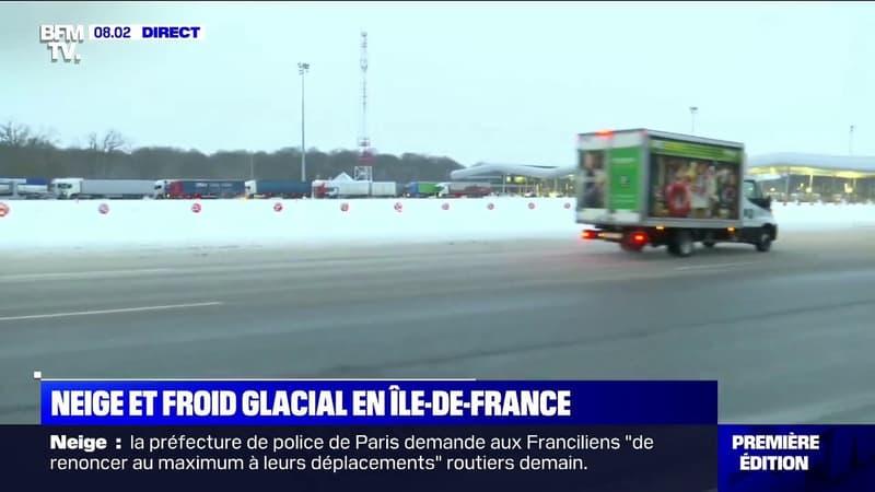 De nombreux poids lourds immobilisés au péage de Saint-Arnoult en raison de la neige