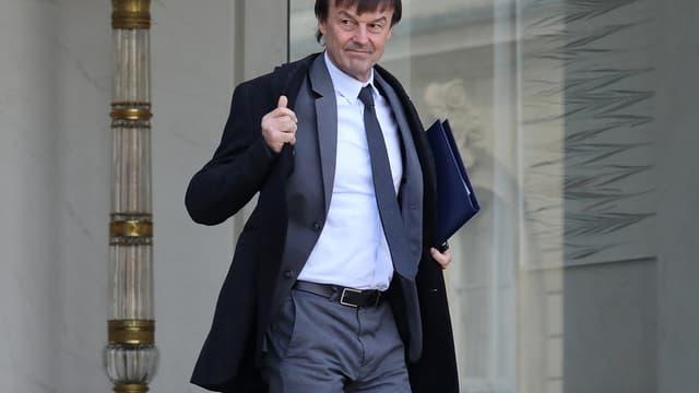Nicolas Hulot à la sortie du conseil des ministres du 8 février.