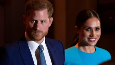 Le prince Harry et son épouse Meghan à Londres, le 5 mars 2020