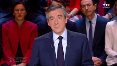 François Fillon lors du débat des cinq principaux candidats à l'élection présidentielle lundi 20 mars sur TF1.