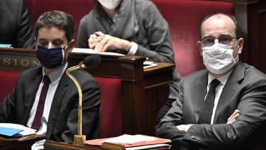 Le porte-parole du gouvernement, Gabriel Attal, et le Premier ministre Jean Castex, à l'Assemblée nationale le 3 novembre 2020