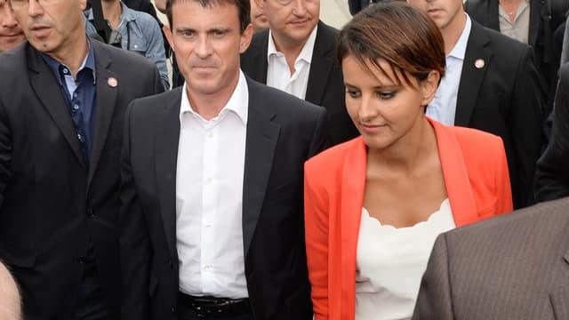 Le Premier ministre Manuel Valls et sa ministre de l'Education Najat Vallaud-Belkacem, ce samedi à La Rochelle.