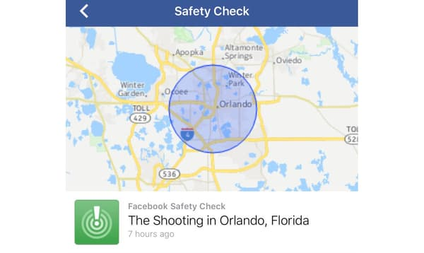 La version mobile du Safety Check de Facebook.