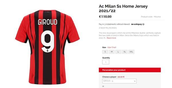 Le maillot de Giroud sur le site de l'AC Milan