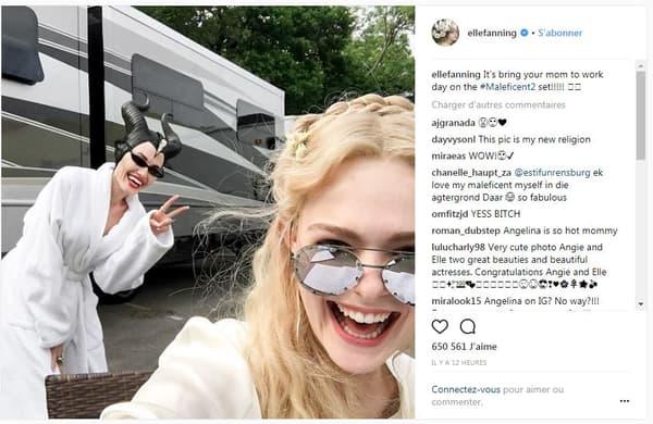 Elle Fanning et Angeline Jolie sur le tournage de Maléfique 2