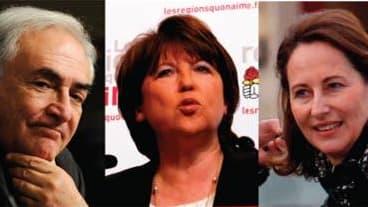 """Le """"pacte"""" entre Ségolène Royal, Martine Aubry et Dominique Strauss-Kahn en vue de l'élection présidentielle de 2012 divise le Parti socialiste, où les candidats qui en pâtiraient se sont montrés irrités. /Photos d'archives/REUTERS"""