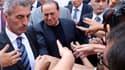 A Rome, manifestation des partisans de Silvio Berlusconi qui protestent contre la confirmation par la Cour de cassation de la peine de quatre de prison ferme infligée à l'ancien président du Conseil italien pour fraude fiscale. /Photo prise le 4 août 2013