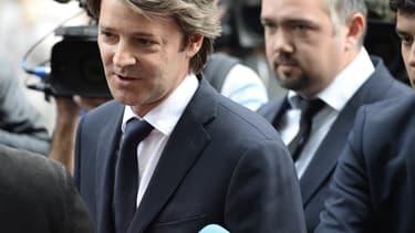 François Baroin le 10 juin 2014 devant le QG de l'UMP, à Paris.