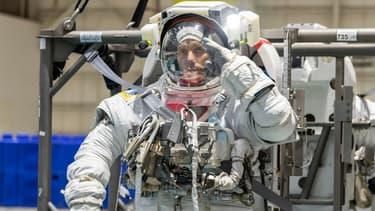 L'astronaute Thomas Pesquet lors d'un exercice de maintenance, en juillet 2020