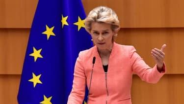 La présidente de la Commission européenne, Ursula von der Leyen, le 16 septembre 2020 au Parlement européen, à Bruxelles