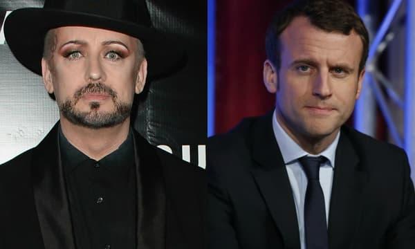 Boy George et Emmanuel Macron.