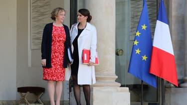 Muriel Pénicaud et Marlène Schiappa à la sortie d'un Conseil des ministres. (image d'illustration)