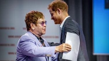 Elton John et le prince Harry à Amsterdam, le 24 juillet 2018