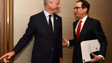 Le ministre des Finances Bruno Le Maire et son homologue américain Steven Mnuchin.