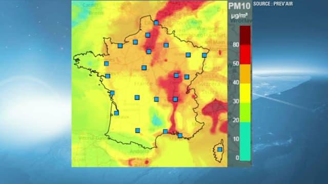 En rouge les prévisions de zones le plus polluées pour vendredi.