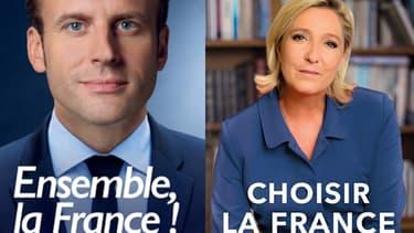 Marine Le Pen et Emmanuel Macron ont révélé mercredi de nouveaux visuels pour leur campagne.
