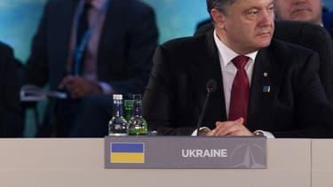 Le président ukrainien Petro Porochenko, ce jeudi soir au Celtic Manor Hotel de Newport, lors du sommet de l'Otan.