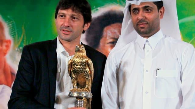 Leonardo en compagnie de Nasser Al-Khelaïfi