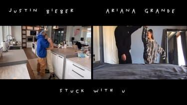 "Justin Bieber et Ariana Grande dans le clip de ""Stuck With U"""