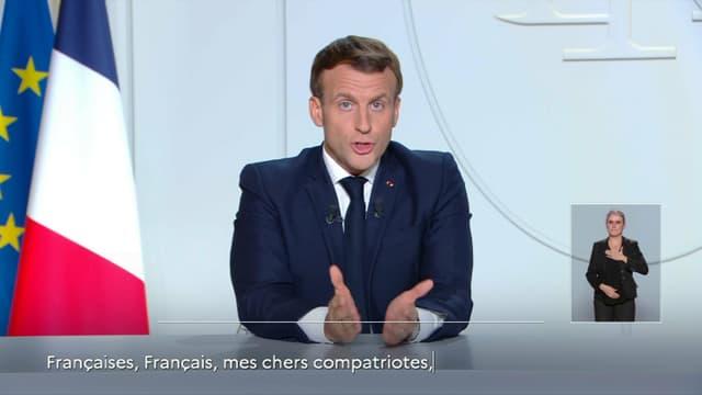 Emmanuel Macron lors de son allocution télévisée ce mercredi soir.
